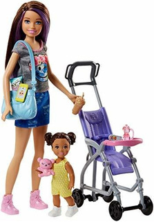 Barbie Skipper Niñeras Juego De Muñecas Coche Bebe Playset