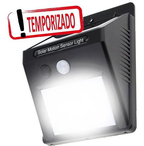 Imagem 1 de 10 de Luminaria Solar Piso Parede Jardim Luz Emergencia 20 Leds Automatica