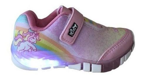Tenis Infantil Menina Kidy Flex Light 0008 Rosa Unicornio