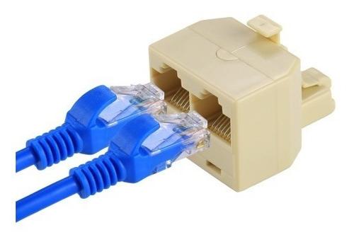 Rj45 Doble Puerto Ethernet Lan Adaptador Red Conector