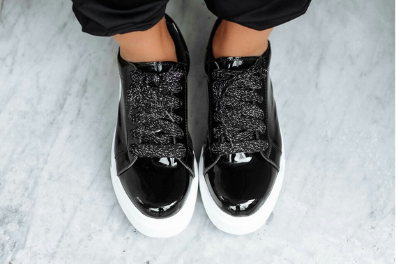 Zapatillas Negras Charol Negro Plataforma Cordones Glitter