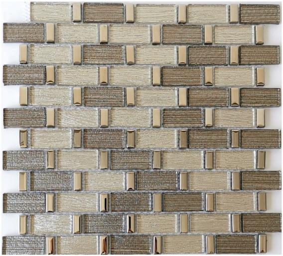 1 X Malla Mosaico Decorativa Cenefa Vidrio Argenta