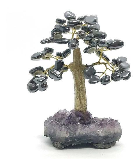 Árvore De Pedra Turmalina Com Base De Ametista Tronco Dourad
