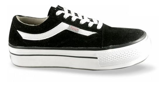 Zapatillas Plataforma 5 Cm. Color Negra Y Fucsia