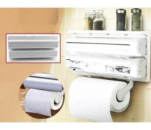 Suporte Papel Toalha Dispenser Cozinha Triple Paper 3 Em 1