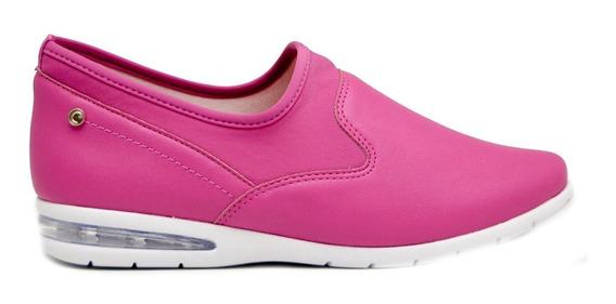 Zapatillas Mujer Cuero Ecológico Y Neoprene Fucsia