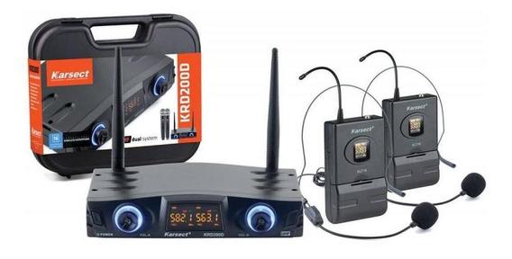 Microfone Headset Sem Fio Duplo Karsect Krd200dh - Uhf