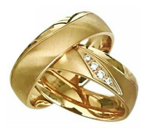 Par De Alianças Noivado E Casamento 3 Banhos Ouro C| Pedras