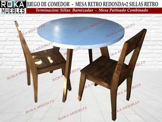 Juego Comedor Mesa Redonda 1.00+2 Silla Retro Patinado