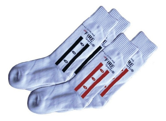 Calcetines Unisex Blancos Con Lineas Fire Sports