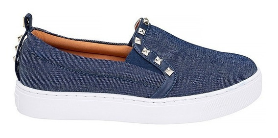 Tênis Slip On Santa Lolla Tachas Jeans Azul