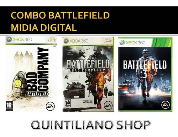 Battlefield 1, 2 E 3 Xbox 360 Mídia Digital