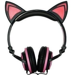Fone De Ouvido Headphone Orelha De Gato Leds Headfone Fones