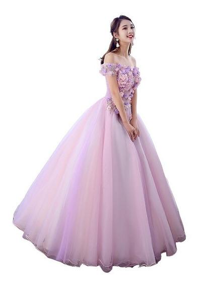 Elegante Vestido Rosa Xv Años Bordado Flores Fino, Barato