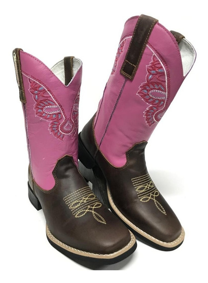 Bota Texana Country Feminina Estilo Goyazes Rosa 100% Couro