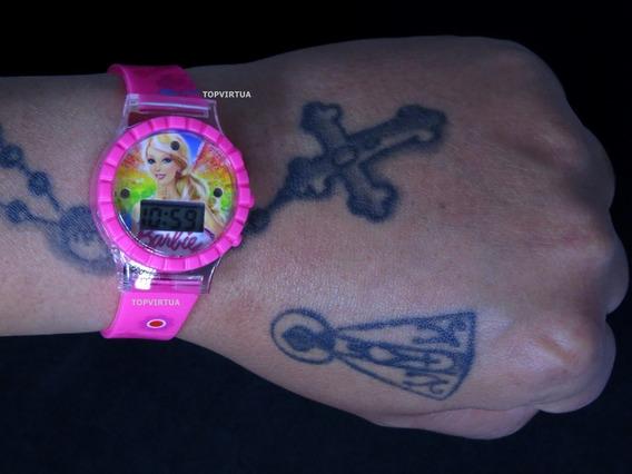 Relógio Barbie Rosa 3d Digital Com Som E Luzes Top Original