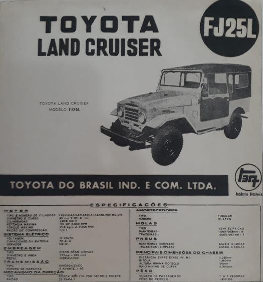 Propaganda Antiga Toyota Land Cruiser Fj25l Ficha Técnica