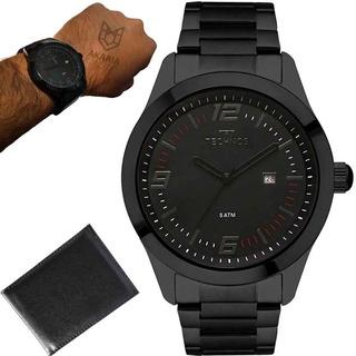 Relógio Technos Masculino Original Lindo Preto Aço +carteira