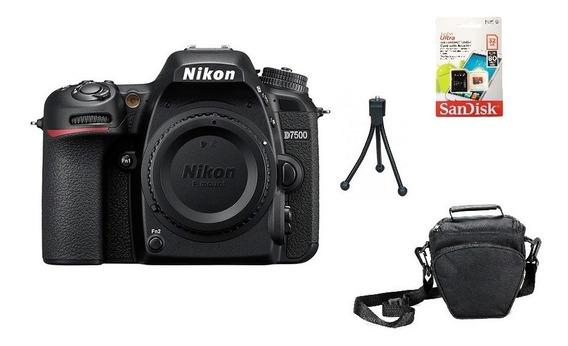Nikon D7500 (corpo) 4k Wi-fi + 32gb + Bolsa + Tripé Sem Juro