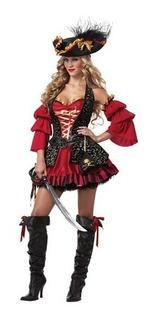 Fantasia Feminina Pirata Vermelha Super Luxo M Veste 36/38