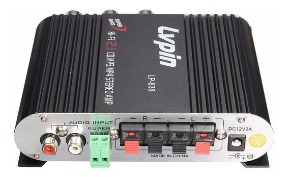 Amplificador Preto Lvpin Lp-200 Lp-838 Subwoffer Grave 200w