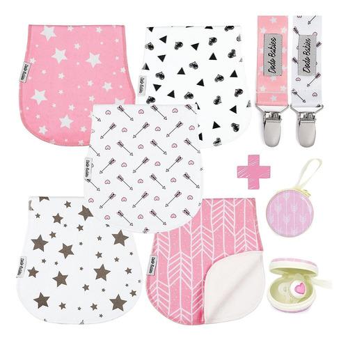Imagen 1 de 7 de Baby Burp Cloths Pack De  Por    Clips De Chupete   Est...