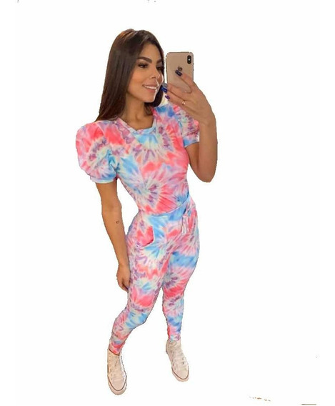 Conjunto Feminino Tie Dye Moda Verão Tendencia Blogueira
