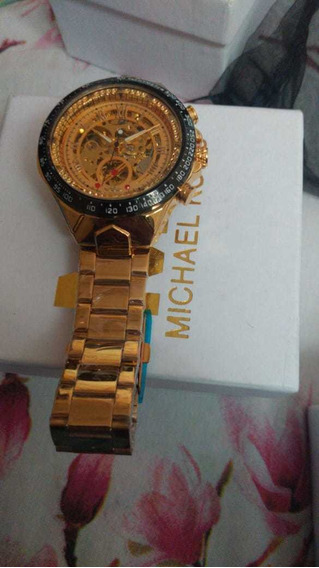 Relógio Dourado Luxo Winner 432 Original Inox Automático Esq