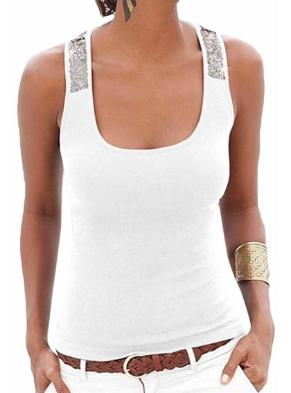 Camiseta Regata Feminina Sem Mangas De Chiffon De Malha Sexy
