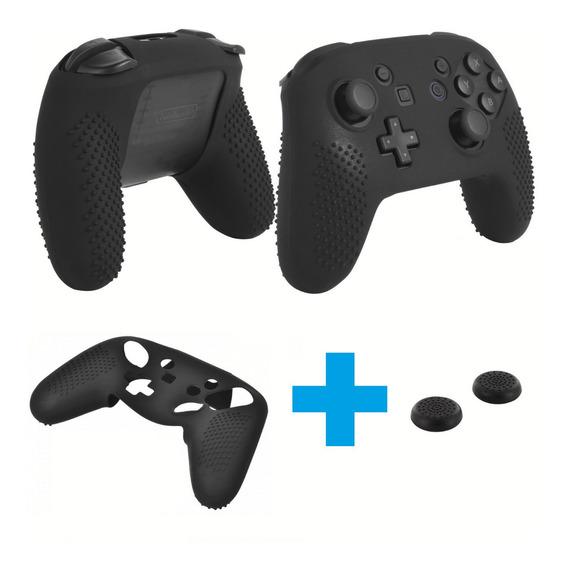 Kit Capa Silicone + Par Grips Nintendo Switch Pro Controller