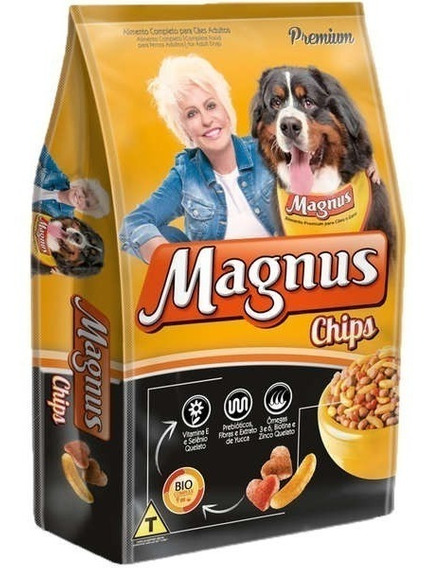 Ração Premium Magnus Chips Cães Adultos 15kg+brinde Promoção