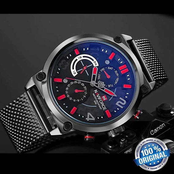 Relógio Esporte Naviforce 9068 Pulseira De Aço Inoxidável