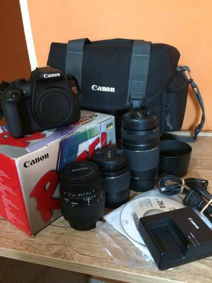 Câmera Cânon T5 + 3 Lentes + Bolsa