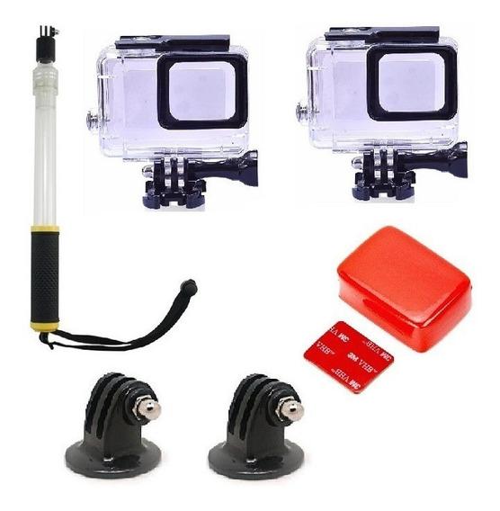 Kit - Gopro Hero 7 6 5 - 2 Case + Gopole +boia +adaptadores