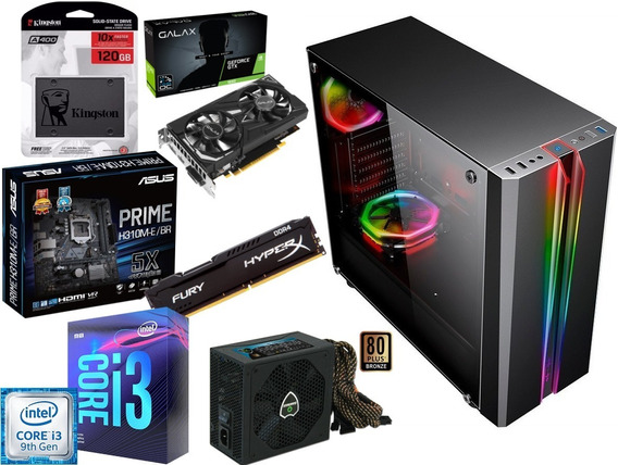 Pc Gamer I3 9100f Gtx 1650 4g H310m Ssd 120gb 8g Ram 500w80p