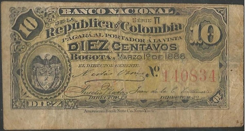 Imagen 1 de 2 de Banco Nacional 10 Centavos 1 Mar 1888 Serie Pi P211