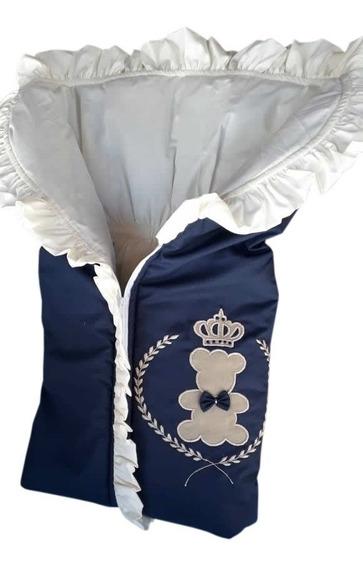 Porta Bebe Saco De Dormir Azul Marinho Urso Realeza Saco Beb