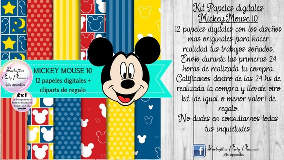 Papeles Fondos Digitales Mickey Mouse 10 Kit Imprimible