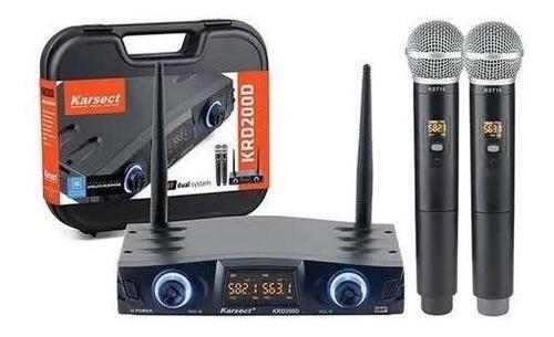 Microfone Duplo Mão Sem Fio Uhf Karsect Krd 200 Dm