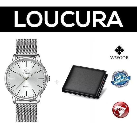 Relógio Masculino Social Luxo Wwoor Prata + Carteira Brinde
