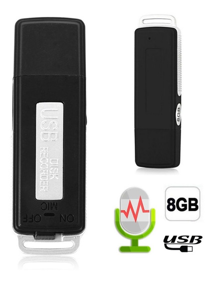 Mini Gravador De Audio Usb Pen 70 Horas + Disco De U 8gb