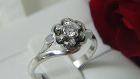 Anel Chuveiro De Ouro Branco E Diamante De 35 Pontos