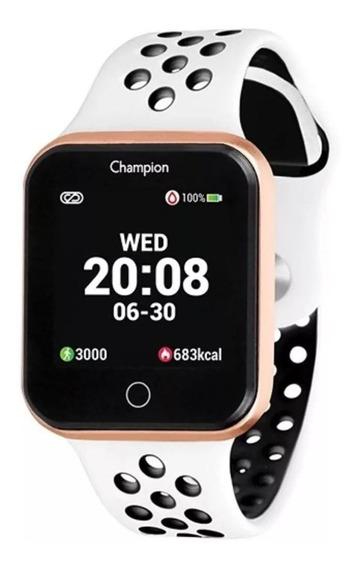 Relógio Champion Smart Watch Ch50006w Rosê Branco Preto