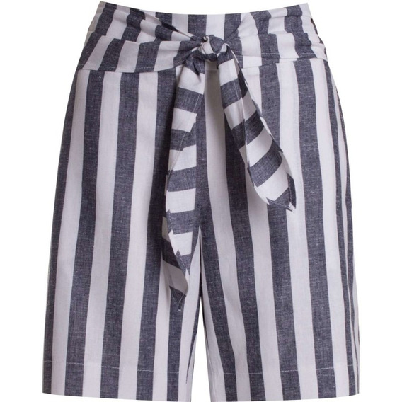 Shorts Linho Estampa De Listras Seiki 360214 - Cinza