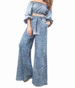Calça Jeans Lança Perfume Pantalona Cintura Alta 36