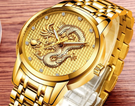 Relógio Masculino Lige Dragão Dourado.