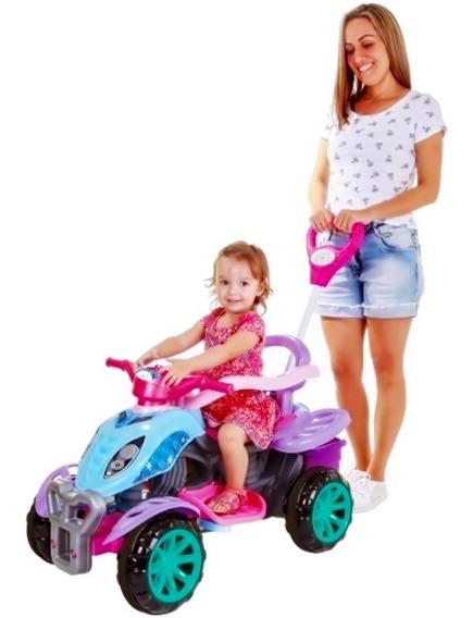 Quadriciclo Infantil Rosa Menina C/ Pedal E Empurrador Maral