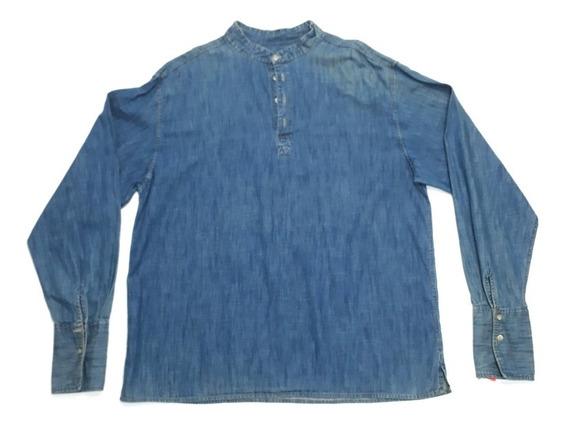 Camisa Jeanmangas Largas Adji Cuello Mao Mujer Xxl Azul