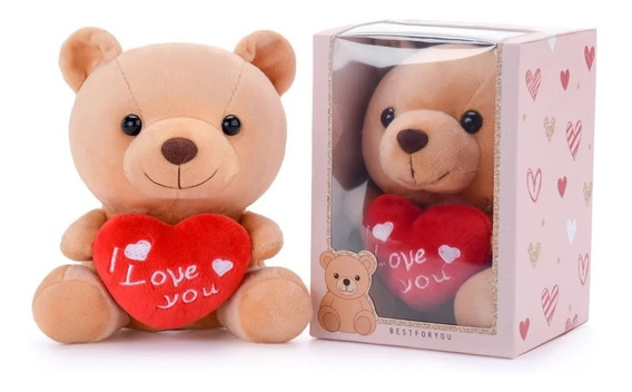 Boneca Usinho Pelúcia Gloveleya Coração Namorados Natal