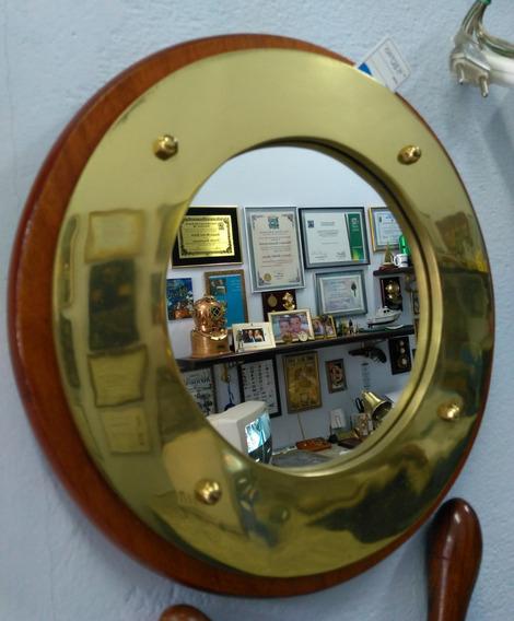 Espelho, Moldura Madeira E Aro Em Bronze